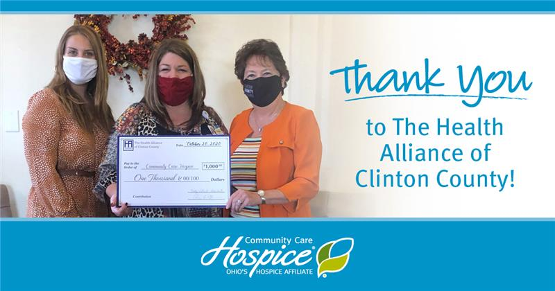 Thank You To The Health Alliance Of Clinton County! - Community Care Hospice